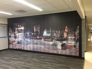 "Photo of ""Public Square, Night"" by Masumi Hayashi, in Cleveland State University Main Classroom building."