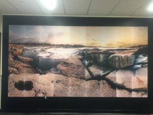 "Photo of Hayashi's ""Edgewater Park"" mural in CSU Main Classroom building"